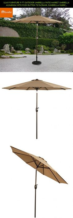 Ulax Furniture 9 Ft Outdoor Umbrella Patio Market Umbrella Aluminum with Push Button Tilt&Crank, Sunbrella Fabric, Heather Beige #plans #parts #fpv #kit #tech #racing #gadgets #products #drone #technology #fabric #patio #furniture #shopping #camera