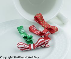 #Baby Hair Bow Clips Christmas Holiday Hair Clips by SheWearsitWell, $8.99