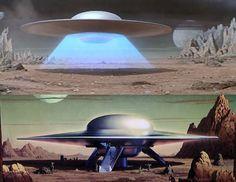 "Earth Saucer ""Forbidden Planet"", preparing to land, and crew egress. Arte Alien, Alien Art, Fiction Movies, Science Fiction Art, Planet Movie, Classic Sci Fi Movies, 70s Sci Fi Art, Sci Fi Films, Aliens And Ufos"