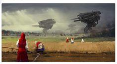 もし第一次大戦直後に巨大ロボットが実用化されていたら......【画像】  (via http://www.huffingtonpost.jp/2014/10/14/jakub-rozalski_n_5981000.html )