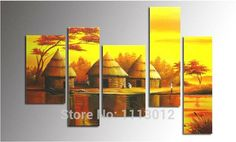 Hot Sale African Elephant Giraffe Tree Oil Painting On Canvas 5 Pcs Set Home Wall Art Decoration Modern Picture For Living Room