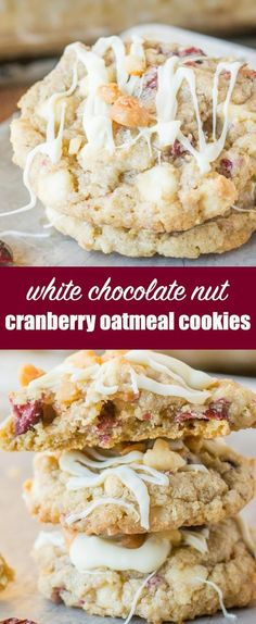 White Chocolate Cranberry Oatmeal Cookies that are full of cranberries, white chocolate chips, macadamia nuts, and oatmeal. Hearty enough for breakfast! #craisins #cranberries #cookies #oatmeal