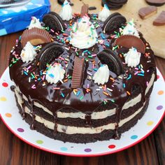 Reese's Oreo Chocolate Cake with Funfetti Cookie Dough Filling