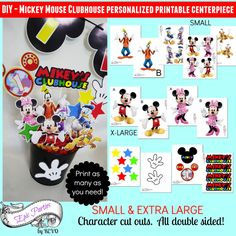 DIY | Mickey Mouse Clubhouse Printable Centerpiece | Personalized | Name