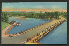Vintage Postcard - A Bridge used for Fishing over Yellowstone River at Outlet of Yellowstone Lake, Yellowstone National Park (1487) by TheToadsHouse on Etsy https://www.etsy.com/listing/255088248/vintage-postcard-a-bridge-used-for