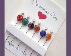Millefiori Heart Pins - Decorative Sewing Pins - Embellishment Pins