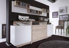 DUETT 2 Sideboard mit Glasboden Weiß Hochglanz/Sonoma Eiche
