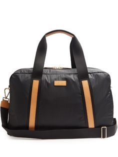 PAUL SMITH Bi-Colour Leather-Trimmed Nylon Holdall. #paulsmith #bags #leather #lining #travel bags #metallic #nylon #weekend #