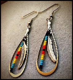 Silver Feather Beaded Earrings