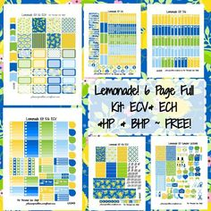 Lemonade Kit! | Free Printable Planner Stickers from http://plannerproblem.wordpress.com! Download for free at https://plannerproblem.wordpress.com/2016/08/28/lemonade-kit-free-printable-planner-stickers/