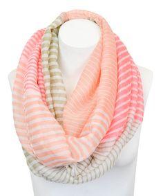 Look at this #zulilyfind! Pink & Khaki Stripe Infinity Scarf by Leto Collection #zulilyfinds