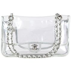 Authentic Chanel Clear Classic Flap ❤ liked on Polyvore featuring bags, handbags, chanel, purses, bags/purses, accessories, hand bags, flap handbags, chanel bags and flap purse