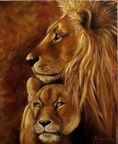 Купить Картина маслом Львиная пара - картина со львами, лев и львица