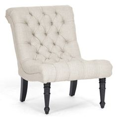 @Overstock - Materials: Linen, birch wood, metal Black stained legs Upholstery materials: Linen