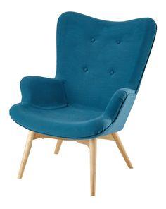Fabric vintage armchair in petrol blue
