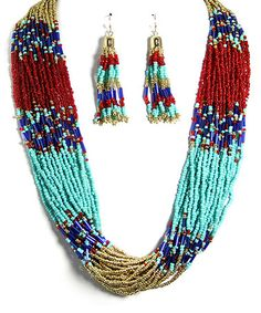 Another great find on #zulily! Gold & Burgundy Bead Multistrand Necklace & Drop Earrings #zulilyfinds