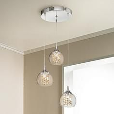 "Contemporary Condo Lighting.  Add sparkle over the piano, Lamps Plus, Encircled Crystal Globe 12""-W Pendant by Possini Euro Design"