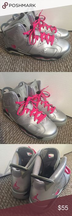 Jordan 7 silver/pink Great condition with box. Ask any questions. Youth size 7. Jordan Shoes Sneakers