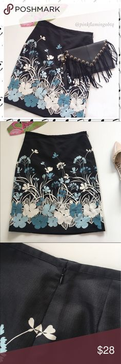 NWT LOFT Ann Taylor Floral Silk Pencil Skirt NWT Blue and off white flowers on black silk blend skirt from Ann Taylor LOFT. Pencil style skirt with hidden side zipper and back darts. Perfect for the work week!   ⚡Shell: 75% silk 25% cotton Lining: 100% acetate LOFT Skirts Pencil