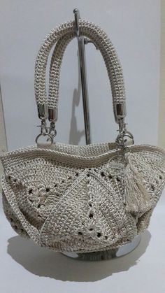 Crochet bag silver  @manka handmade