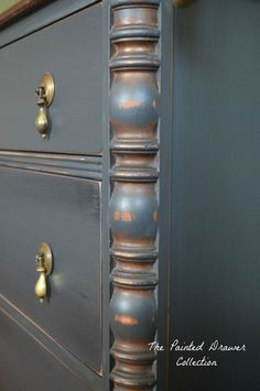 General Finishes Chalk Style Paint, Empire Gray, Black Pepper, Black Painted Chest, Painted Black Dresser, Vintage
