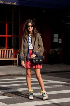 Maje jacket, The Kooples chambray blouse, Acne muscle tee, Etoile Isabel Marant skirt, Isabel Marant sneakers, Oliver Peoples sunglasses, Proenza Schouler purse, Dannijo earrings, MR Dannijo iPhone case. Coca-cola can, not a product placement though I wish it were--I hear they pay we