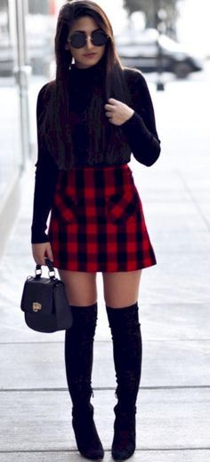 06b37ec467 35 Best Outfit to Wear with Mini Skirt and Boots