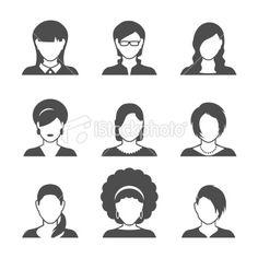 female profile icons Royalty Free Stock Vector Art Illustration