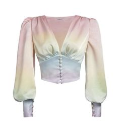 Rainbow Satin Top, Pre order, ships in April. Each piece is carefully and specially dyed by hand. Made of polyester. Stage Outfits, Cool Outfits, Fashion Outfits, Myanmar Traditional Dress, Traditional Dresses, Myanmar Dress Design, Looks Style, My Style, Satin Top