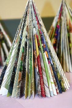 Splish Splash Splatter: Recycled Art: Christmas Tree Fun to make with kids. Book Crafts, Christmas Projects, Holiday Crafts, Holiday Fun, Christmas Ideas, Noel Christmas, All Things Christmas, Winter Christmas, Christmas Ornaments