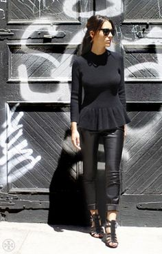 Barney's cashmere sweater, coated black pants