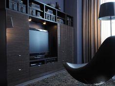 Combinación de almacenaje para TV BESTÅ alto brillo negro-marrón con efecto bambú