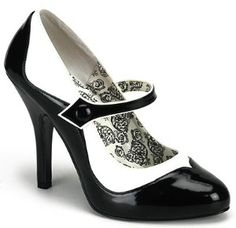 TEMPT-07 Pleaser Shoes Bordello Black/White Mary Janes