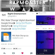 RM, Wale 'Change' is on SoundCloud, SPOTIFY, YouTube and BigHit has download links to directly download the whole song for free~ I love this song It has been on repeat all day! I KNEW JOON WAS GONNA DROP A BOMB CONSIDERING IT'S BEEN MORE THAN TWO YEARS SINCE HIS MIXTAPE NOW! I love it! The World Is Gonna Change~•~ So happy that he could work with Wale who he see's as an idol, role model and respected artist just like how we see him! ❤ (170320) #BTS #방탄소년단