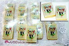 Galletas de boda con impresión de azúcar