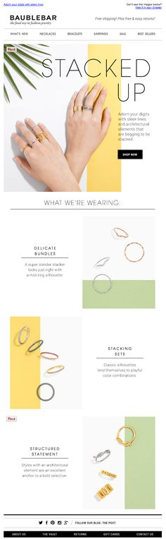 Baublebar email, stacked rings