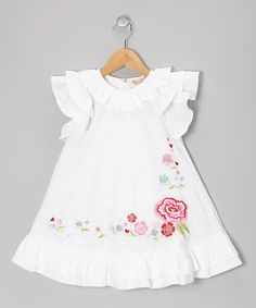 White Ophelia Ruffle Dress - by Baby Nay