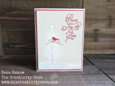 Perfectly lovely Christmas card featuring images from the Thoughtful Branches stamp set. Simple Christmas Cards, Stampin Up Christmas, Christmas In July, Xmas Cards, Handmade Christmas, Holiday Cards, Christmas Crafts, Diy Cards, Stampinup