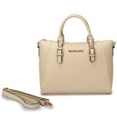 """Michael Kors Logo Large Ivory Totes Outlet Size:13 2/5"""" x 5"""" x 11 -Leather -Golden hardware -Logo plate in front center -Double handles; top zip closure -Adjustable/Removable straps -Inside zip, cell phone and multifunction pockets"""
