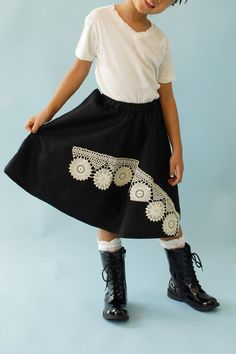 Girls' embroidered black |helene| skirt - WUNWAY