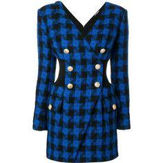 Balmain fitted tartan dress (€2.870) via Polyvore featuring dresses