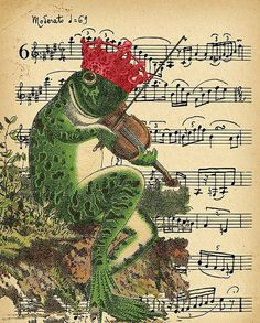 Victorian Vintage Frog with Crown Music by ThePrintableStylist, $6.99: