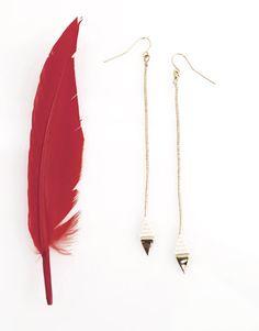 Aztec Long Leaf Earrings