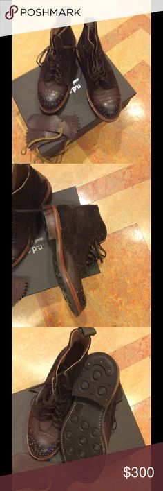 NDC brown leather/suede men's boots 39.5 unisex If these were my size.... I love men's shoes unfortunately I have very small feet.... My husband bought these in Italy and they are sitting new in box.... Love you can add the fringed tongue if you please... price is firm no offers or trades NDC Shoes Ankle Boots & Booties