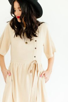 Button Up Front Light Tan Spring Dress | ROOLEE  #ROOLEEfave