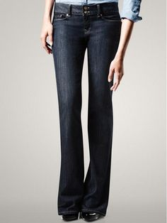 GAP 1969 Perfect Boot Jeans.  I love the dark wash, no rips, relatively consistent color.  Not sure if the waist is high enough to cover the mom belly.  The leg is probably a little too wide at the bottom.  I need pants that are long enough.  Heals (long version) vs. low slipper shoes (regular length version)