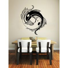 Yin Yang Koi Fish Vinyl Sticker Wall Art