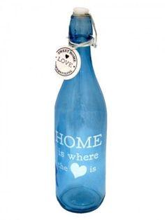 Flasche-Glasflache-Buegelverschluss-Blau-Glas-Deko-Kueche-Tischdeko