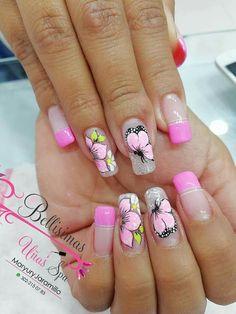Pretty Nail Designs, Nail Art Designs, Pink White Nails, Fail Nails, One Stroke Nails, Butterfly Nail, Nail Shop, Flower Nails, Nail Tutorials