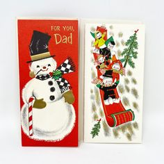 Vintage Mid Century Christmas Card Hi Adorable Children Wrapping the Red on a Candy Cane Unused